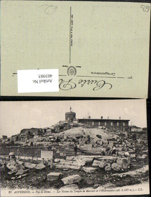 403985,Auvergne Puy-de-Dome Les Ruines du Temple de Mercure et Observatoire Observatorium