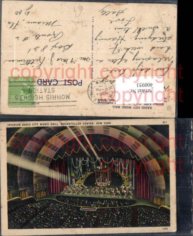 400953,Interior Radio City Music Hall Rockefeller Center New York Bühne Theater