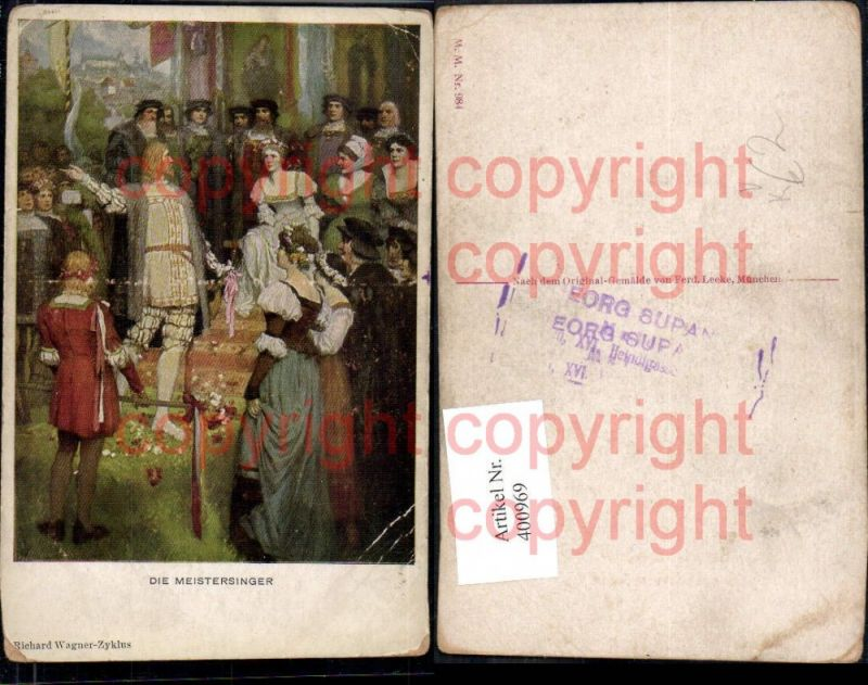 400969,Künstler Ak Ferd. Leeke Die Meistersinger Richard Wagner Szene Theater pub M. Munk 984