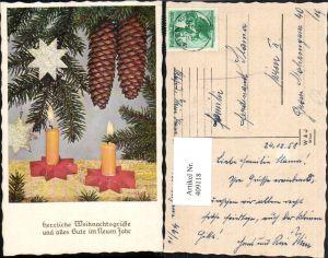 409118,Weihnachten Tannenzweige Zapfen Sterne Kerzen