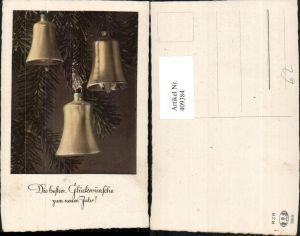 409384,Neujahr Tannenzweige Glocken