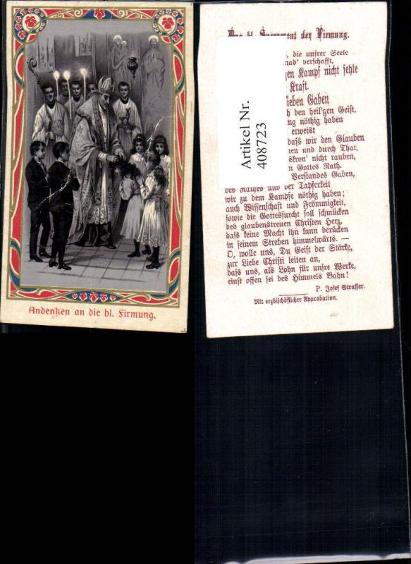 408723,Andachtsbild Heiligenbildchen Andenken Hl. Firmung Priester Kinder Ministranten