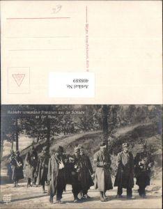 408889,WW1 Kriegsgefangene Rückkehr verwundeter Franzosen a. d. Schlacht Aisne
