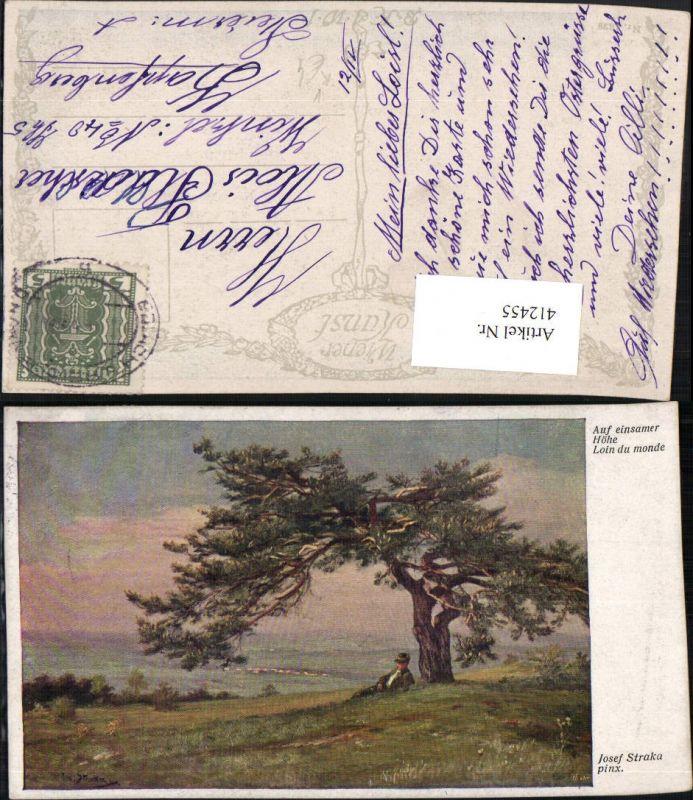 412455,Künstler AK Josef Straka Auf einsamer Höhe Landschaft pub B.K.W.I. 1629
