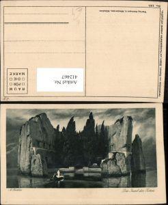 412467,Künstler AK A. Böcklin Die Insel der Toten Felsen Boot