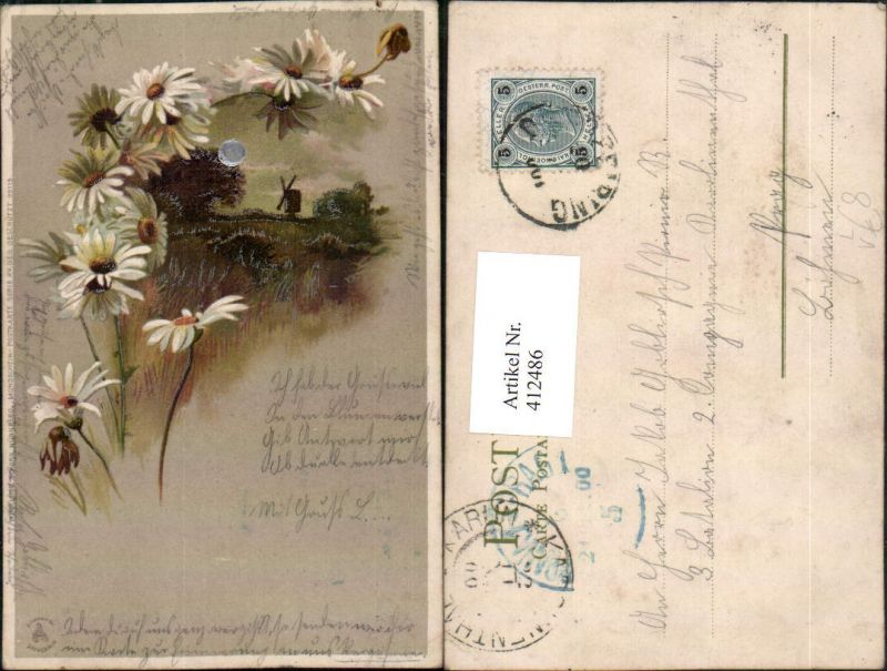 412486,Künstler Mond Litho Silberverzierung Landschaft Windmühle pub Winkler & Schorn 99115