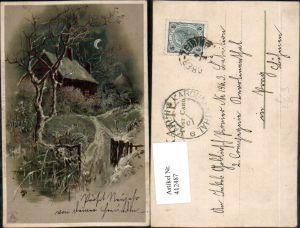 412487,Künstler Mond Litho Landschaft Haus pub Winkler & Schorn 99115