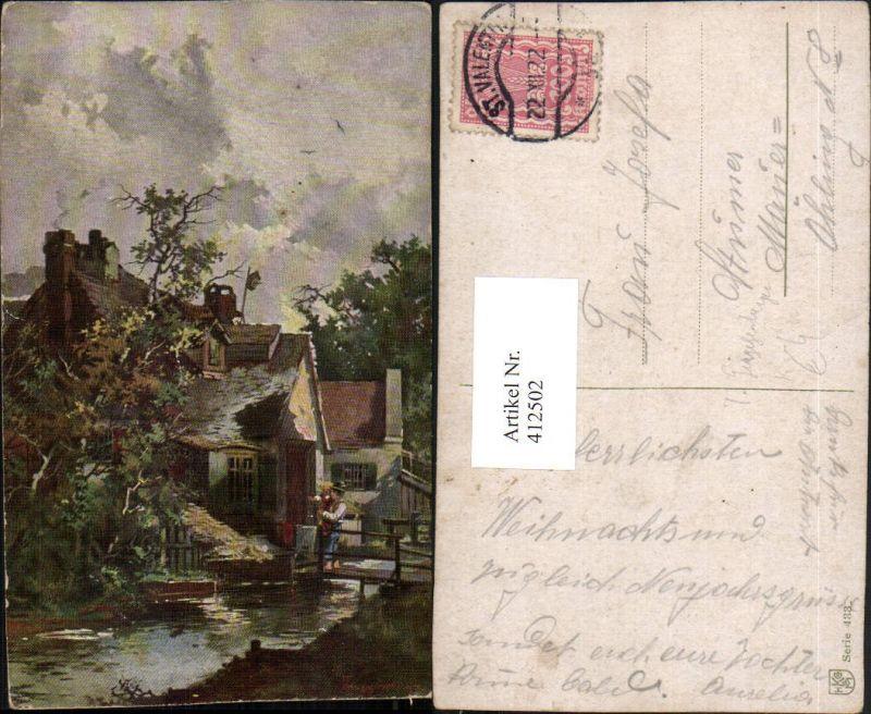 412502,Künstler AK T. Guggenberger Häuser Bach Brücke