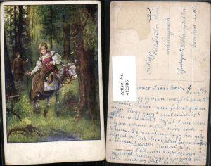 412506,Künstler AK T. Welzl Frau in Tracht Esel Wald Voyeurismus pub B.K.W.I. 252/4