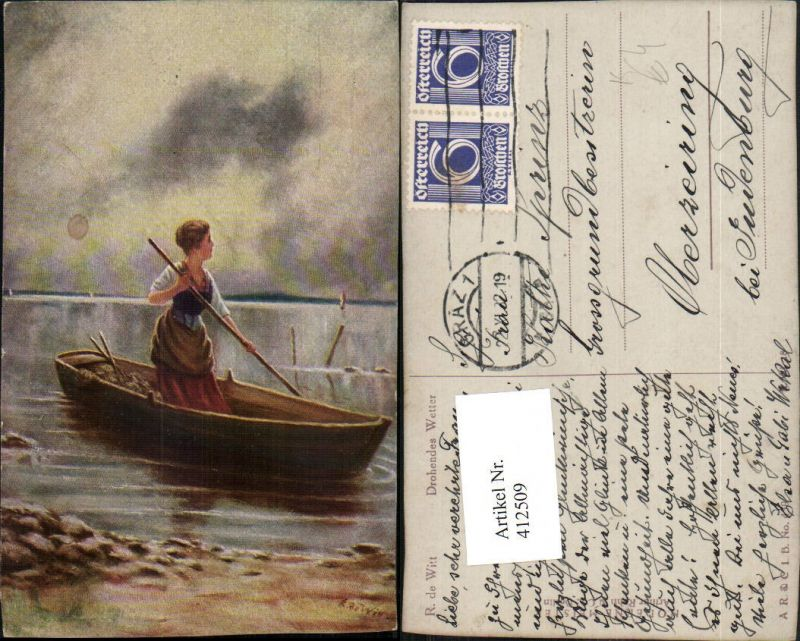 412509,Künstler AK R. Witt Drohendes Wetter Frau Ruderboot Boot