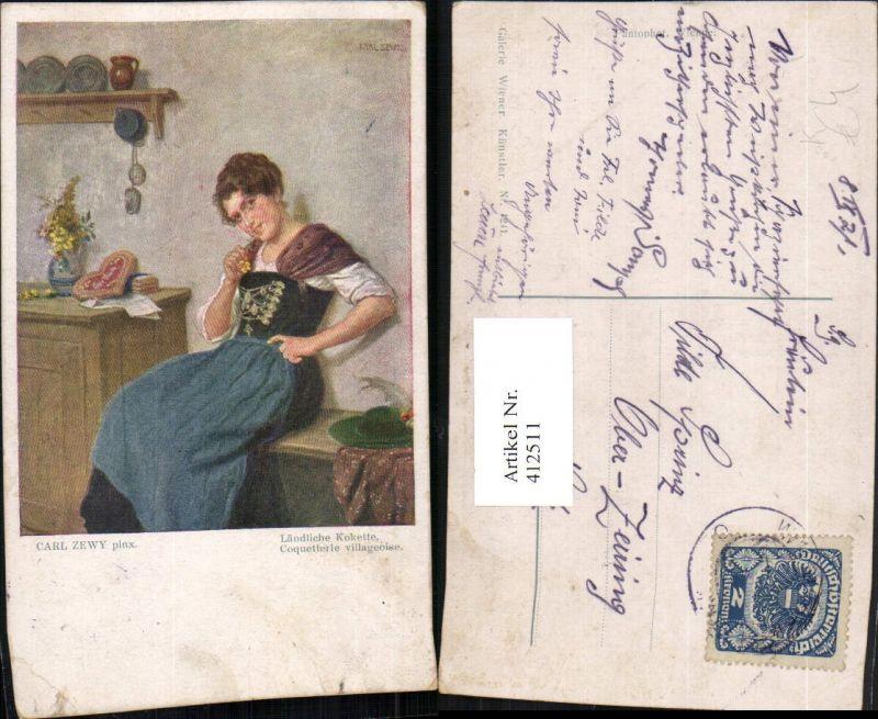 412511,Künstler AK Carl Zewy Ländliche Kokette Frau in Tracht Lebkuchenherz