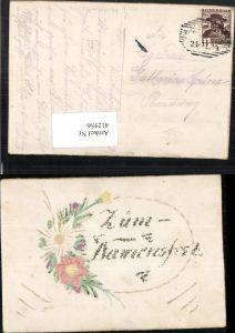 412556,Künstler AK Handgemalt Glitzer Namensfest Namenstag Blumen