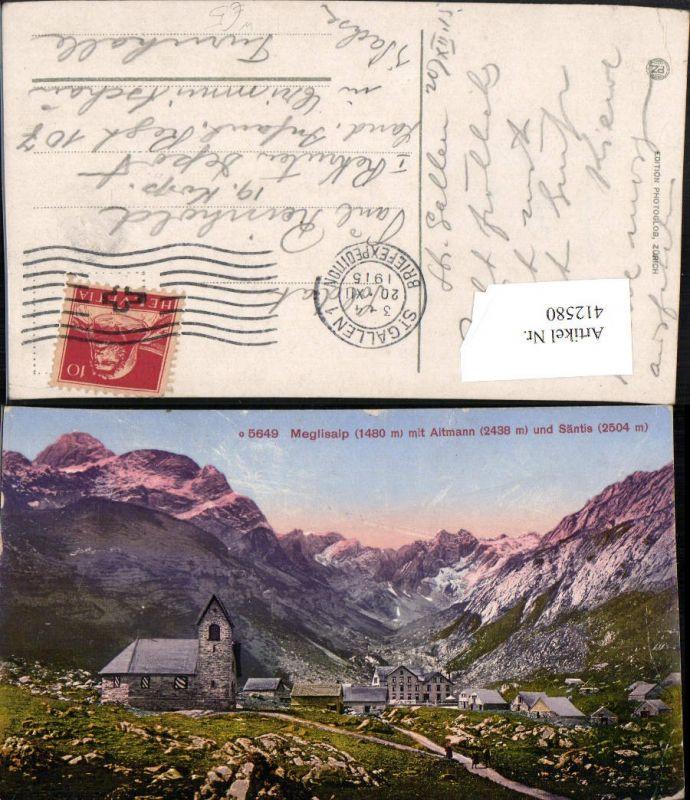 412580,Meglisalp Totale m. Altmann u. Säntis Bergkulisse Kt Appenzell