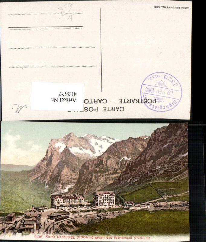 412627,Kleine Scheidegg geg. Wetterhorn Bergkulisse Kt Bern