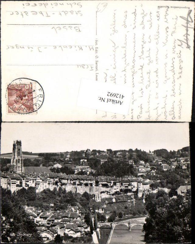 412692,Fribourg Freiburg Teilansicht Fluss Brücke