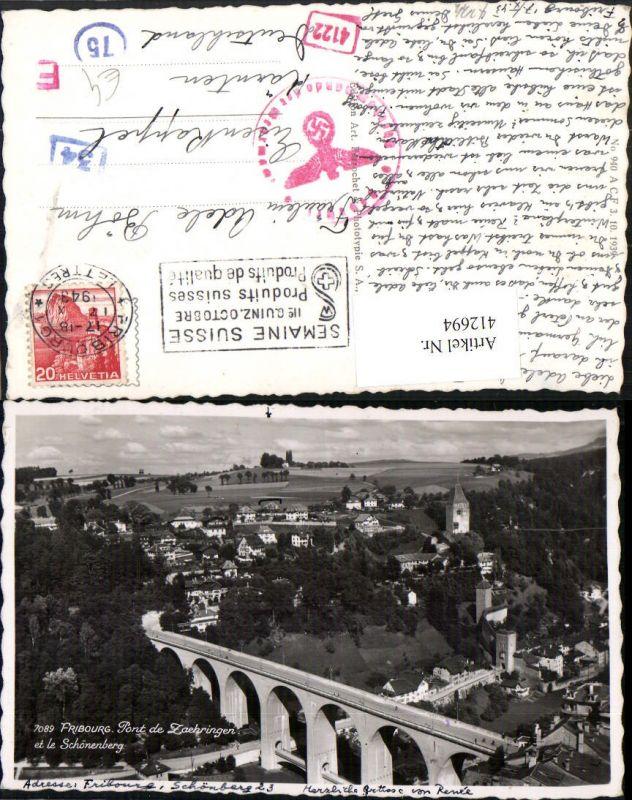 412694,Fribourg Freiburg Pont de Zaehringen et le Schönenberg Teilansicht Brücke
