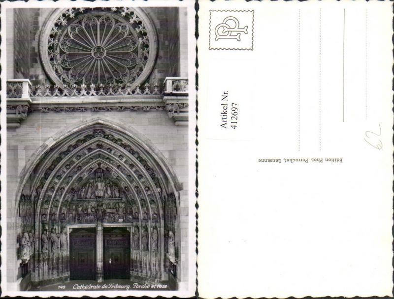 412697,Fribourg Freiburg Cathedrale Porche et rose Kirche Portal Rosenfenster