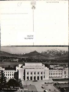 412701,Geneve Genf Le Palais des Nations et le Mont-Blanc Gebäude Bergkulisse