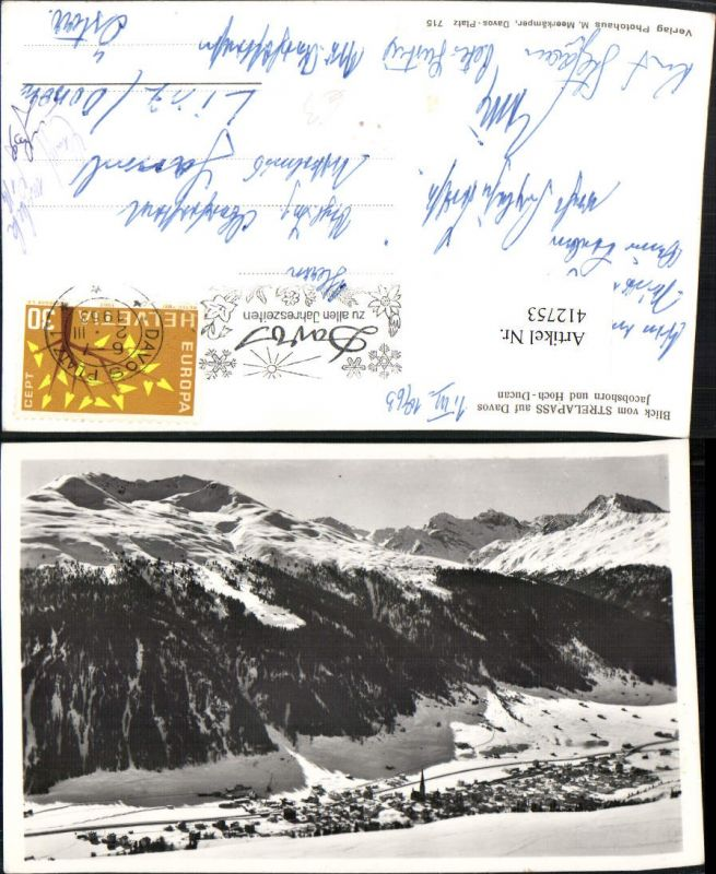 412753,Blick vom Strelapass auf Davos Totale Bergkulisse Winterbild Kt Graubünden