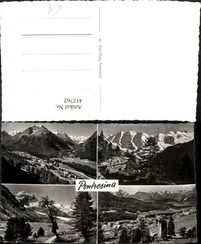 412762,Pontresina Totale Bergkulisse Mehrbildkarte Kt Graubünden