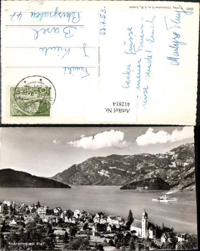 412814,Beckenried Totale m. Rigi See Dampfer Kt Nidwalden