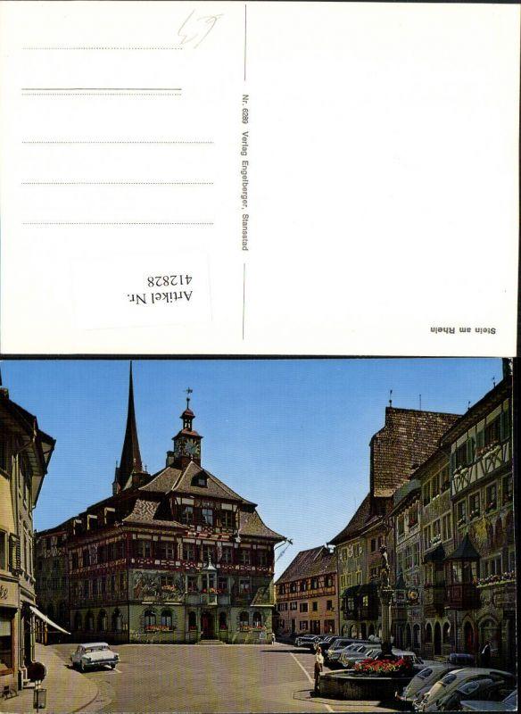 412828,Stein am Rhein Straßenansicht Rathaus Brunnen Kt Schaffhausen