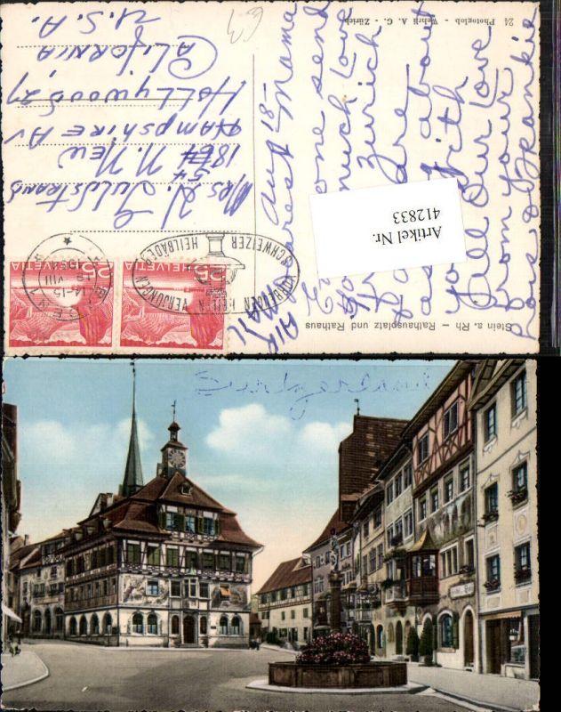 412833,Stein am Rhein Rathausplatz Rathaus Brunnen Kt Schaffhausen