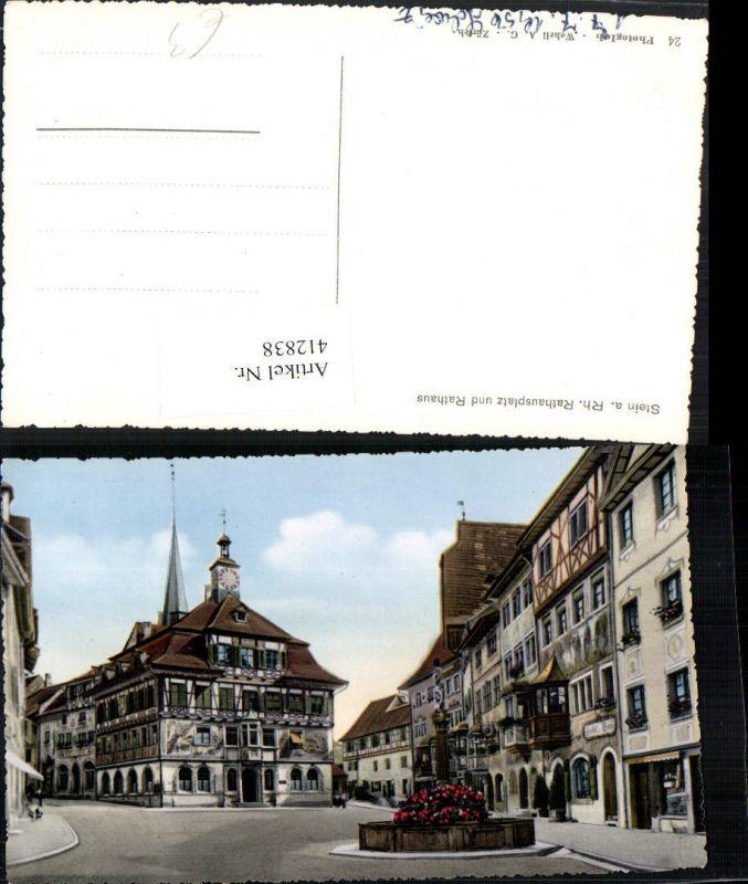 412838,Stein am Rhein Rathausplatz Rathaus Brunnen Kt Schaffhausen