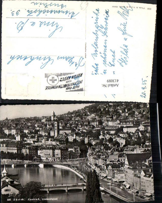 413089,Zürich Central Limmatquai Teilansicht Brücken