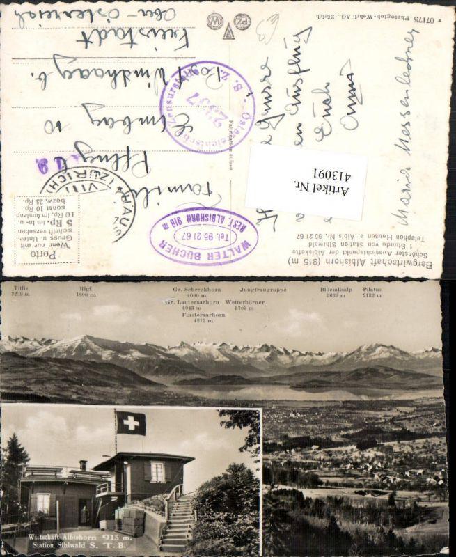 413091,Station Sihlwald Wirtschaft Albishorn Bergkulisse Mehrbildkarte Kt Zürich