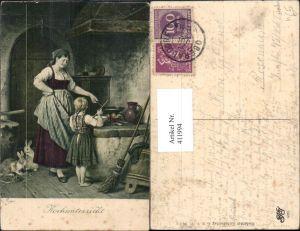 411994,Künstler Ak R. Epp Kochunterricht Frau Mädchen a. Herd Feuerstelle Kochen Heimarbeit Hausarbeit