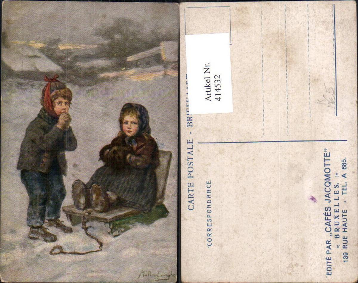 414532,Künstler Ak Müller-Lingke Kinder Schlitten Holzschlitten Rodel Winterlandschaft