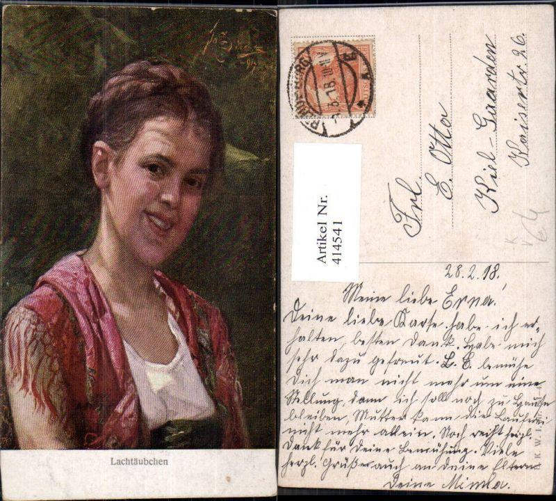414541,Künstler Ak Lachtäubchen Kind Mädchen Zopf Schultertuch Portrait pub B.K.W.I. 151/4