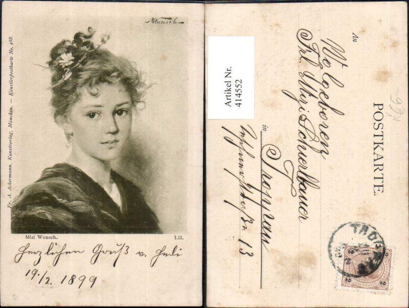 414552,Künstler Ak Mizi Wunsch Lili Kind Mädchen Portrait Lockenkopf pub F. A. Ackermann 488
