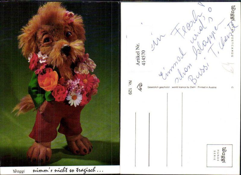 414570,Puppe Plüschhund vermenschlicht Anzug Blumenkranz Waggi