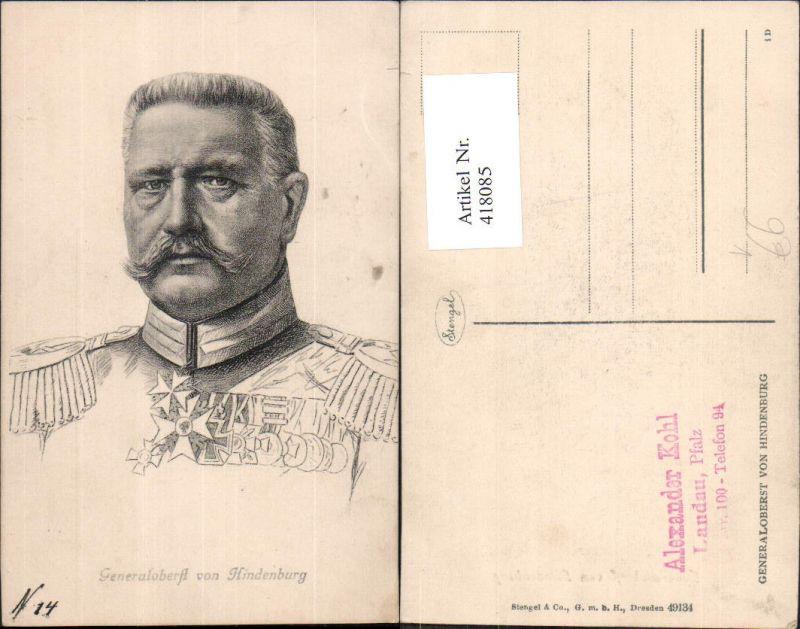 418085,Generaloberst v. Hindenburg Portrait Adel Monarchie Deutschland pub Stengel Co 49134