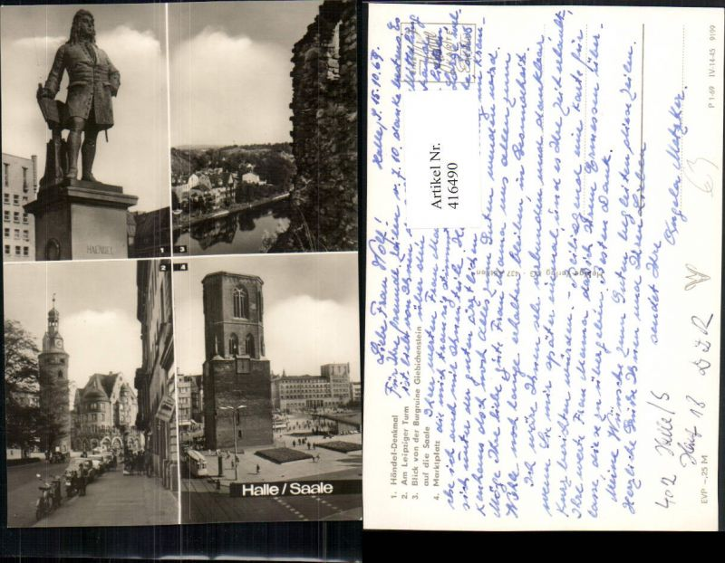 416490,Halle an d. Saale Händel-Denkmal Marktplatz Turm Mehrbildkarte