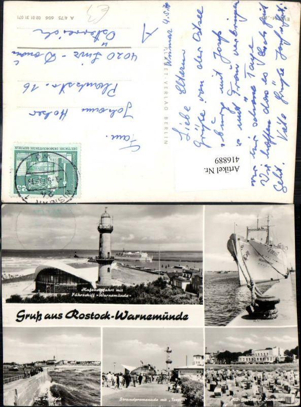 416889,Rostock Warnemünde Strand Kurhaus Promenade Leuchtturm Schiff Mehrbildkarte