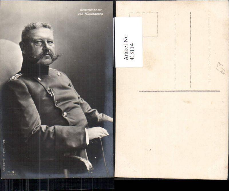 418114,Generaloberst v. Hindenburg Adel Monarchie Deutschland Uniform