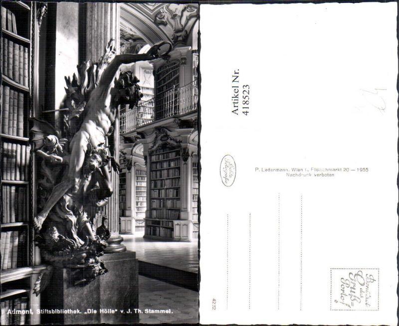 418523,Foto Ak Stiftsbibliothek Admont Bibliothek Die Hölle Statue v. J. Th. Stammel