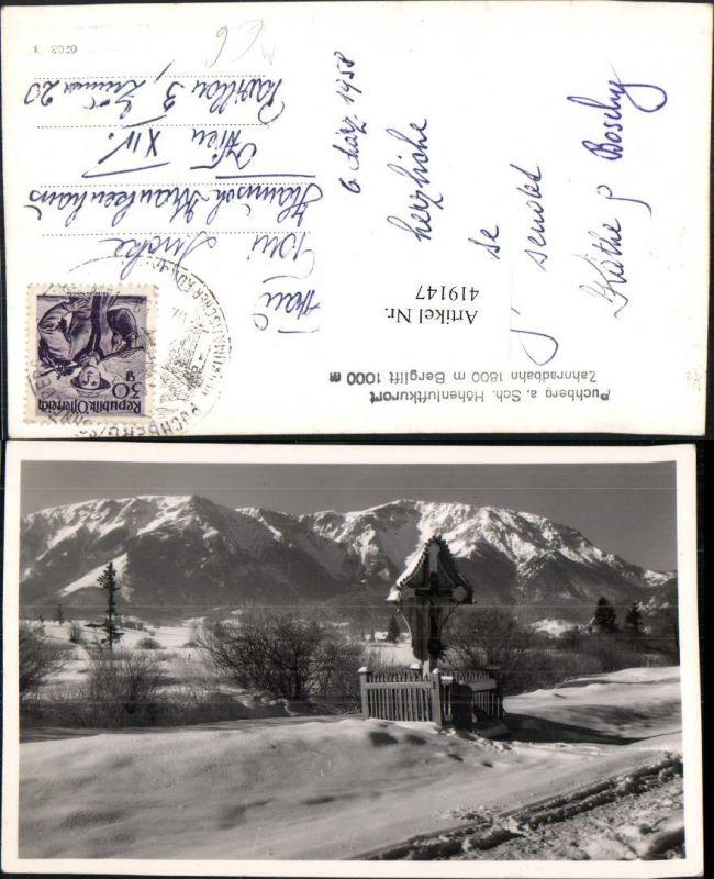 419147,Puchberg am Schneeberg Wegkreuz Bergkulisse Winterbild 0