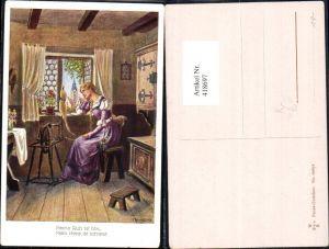 418697,Künstler Ak F. Kaskeline Frau sitzt Spinnrad Faust Gretchen