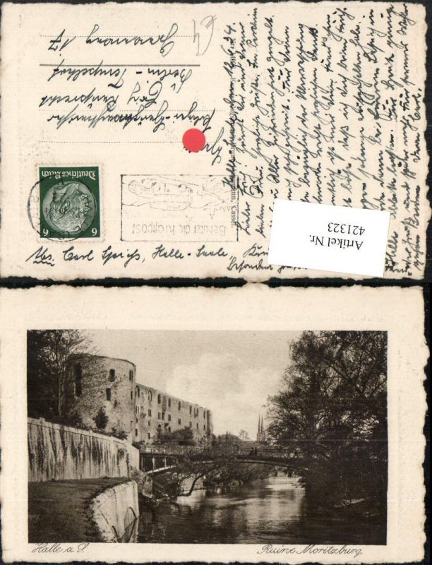 421323,Halle an d.Saale Ruine Moritzburg Brücke