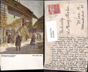 425848,Künstler Ak Felix Riedel Beethovenhaus i. Nußdorf Komponist