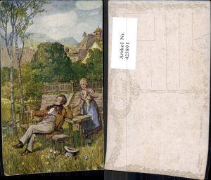 425891,Künstler Ak Felix Riedel Franz Schubert Frau Rast b. Birken Landschaft Komponist pub B.K.W.I. 2078