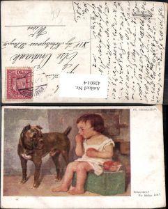 426014,Künstler Ak Fr. Wiesenthal Schmeckts Kind Mädchen m. Hund Essen Marillen Obst