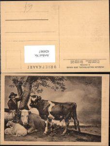 426067,Künstler Ak P. Potter Der junge Stier Rind Bauer Schafe Ziege b. Baum