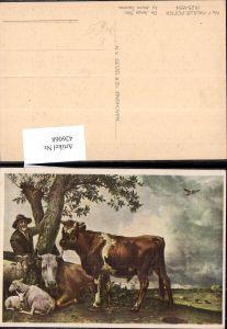 426068,Künstler Ak Paulus Potter Der Junge Stier Rind Bauer Schafe Ziege b. Baum