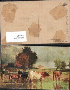 430245,Künstler Ak Troyon Die Tränke Bäuerin m. Rinder Kühe Landwirtschaft