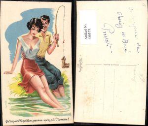 430371,Sexy Frau m. Mann b. Fischen Angeln Spruch Erotischer Humor Erotik